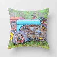 antique Throw Pillows featuring Antique Buddies! by Alaskan Momma Bear