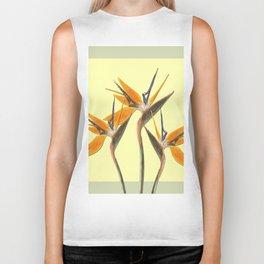 Three Paradise Flowers Strelitzia yellow R Biker Tank