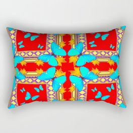 Decorative Western Style Red Turquoise Butterflies Creamy Gold Patterns Art & Rectangular Pillow
