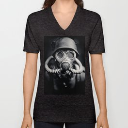 German Solider in a Gas Mask from World War II Unisex V-Neck