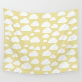 Clouds on Mustard Wall Tapestry
