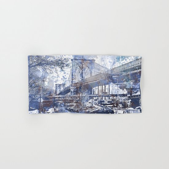 Brooklyn Bridge New York USA Watercolor blue Illustration Hand & Bath Towel