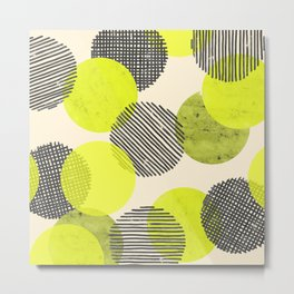 Lime Dot Pattern Metal Print
