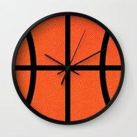 basketball Wall Clocks featuring Basketball by Rorzzer