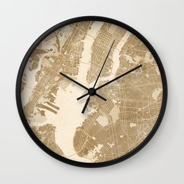 Vintage map of New York in sepia Wall Clock