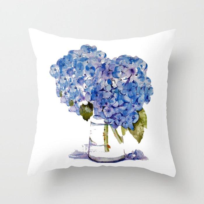 Hydrangea painting Throw Pillow