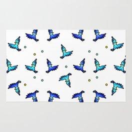 blue jays swirling Rug