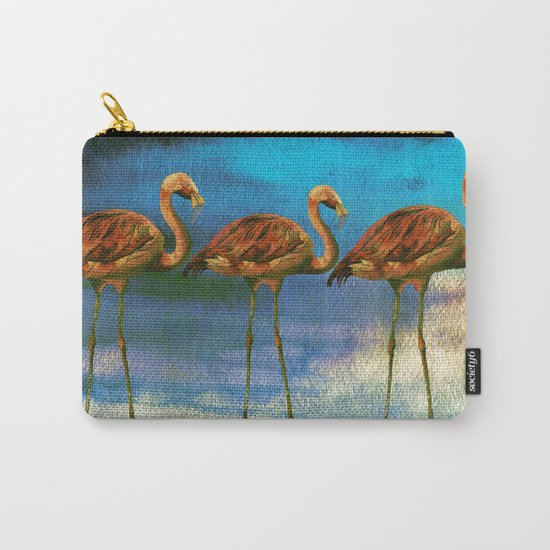 Tropical Flamingo Illustration on watercolor - Birds Animals  #Society6 Carry-All Pouch