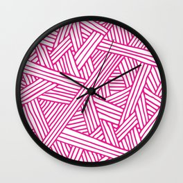 Abstract pink & white Lines and Triangles Pattern-Mix and Match with Simplicity of Life Wall Clock