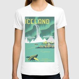 Vintage Mid Century Modern Iceland Scandinavian Travel Poster Ocean Whale Winter Village T-shirt