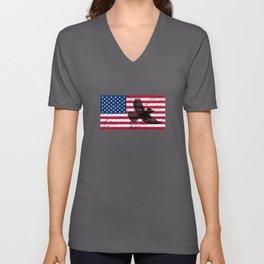 Blue Jay Patriotic American Flag Unisex V-Neck