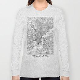 Philadelphia White Map Long Sleeve T-shirt