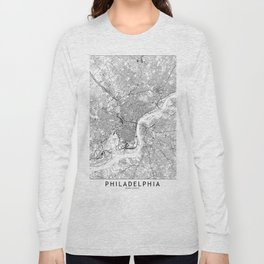 Philadelphia White Map Long Sleeve T-shirt