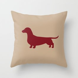 Dachshund (Tan/Burgundy) Throw Pillow