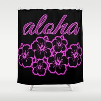 aloha Shower Curtains featuring ALoha  by Lonica Photography & Poly Designs
