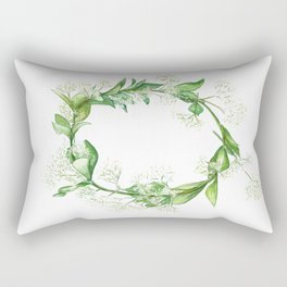 Green floral wreath in watercolour Rectangular Pillow