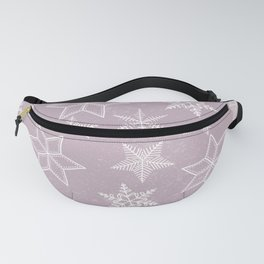 Snowflakes on pink background Fanny Pack