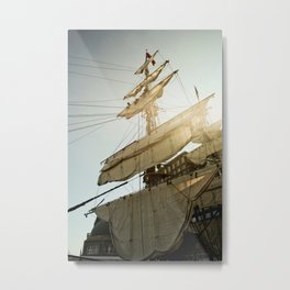 Tall Ship in Boston Harbor Metal Print