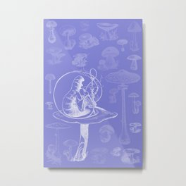 Caterpillar and Mushrooms Metal Print