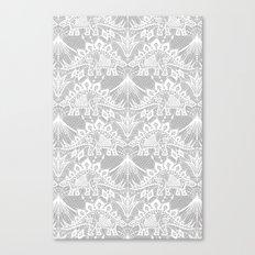 Stegosaurus Lace - White / Silver Canvas Print