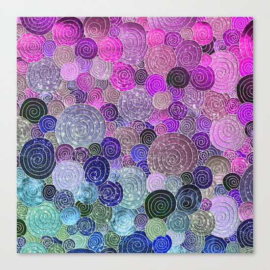 Abstract blue& purple glamour glitter circles and dots for Girls and ladies Canvas Print