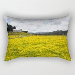 Barn and Yellow Fields Rectangular Pillow