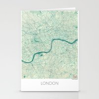 london map Stationery Cards featuring London Map Blue Vintage by City Art Posters