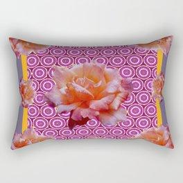 GREY ABSTRACT ANTIQUE ROSES FUCHSIA FLORAL Rectangular Pillow