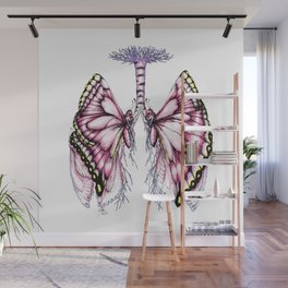 Pink Butterfly Lungs Wall Mural