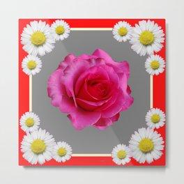 Red Art Shasta Daisy Fuchsia Rose Design Metal Print