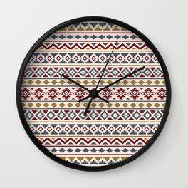 Aztec Essence Pattern II Red Blue Gold Cream Wall Clock