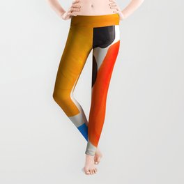 Minimalist Modern Mid Century Colorful Abstract Shapes Primary Colors Yellow Orange Blue Bubbles Leggings