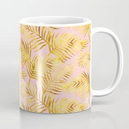 Palm Leaves_Gold and Rose Quartz Coffee Mug