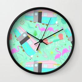 Midcentury Retro Yard Flamingos + Campers Wall Clock