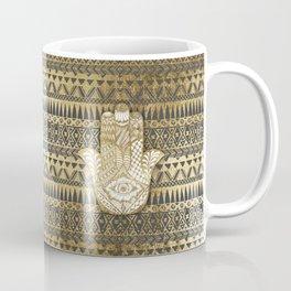 Faux Print Gold Hamsa Hand and Tribal Aztec Coffee Mug