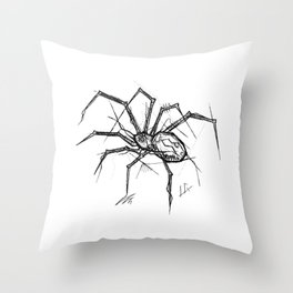 Spider Handmade Drawing, Made in pencil and ink, Tattoo Sketch, Tattoo Flash, Blackwork Throw Pillow