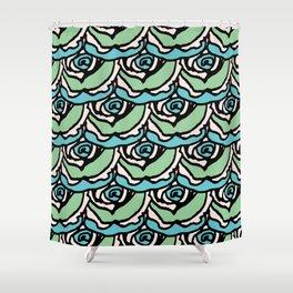 Rock Rose Green Shower Curtain