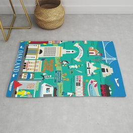 Oakland, California - Collage Illustration by Loose Petals Rug