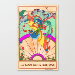Tarot Card-The Wheel of Fortune-La Roue de la Fortune Canvas Print