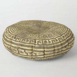 Circular Greek Meander Pattern - Greek Key Ornament Floor Pillow