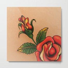 old school tattoo rose Metal Print