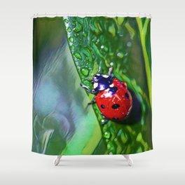Ladybug Leaf   Painting Shower Curtain