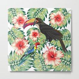 Tropical Birds of Paradise Design 1 Metal Print