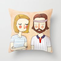 nan lawson Throw Pillows featuring Secretly In Love by Nan Lawson