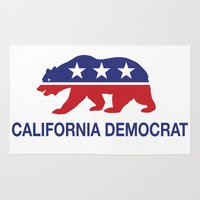 political Area & Throw Rugs featuring California Political Democrat Bear by Democrat