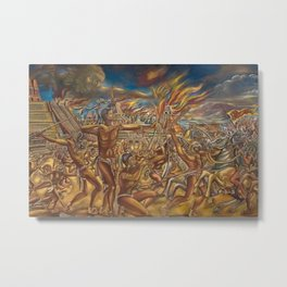 The Fall of Tenochtitlan, the capital of the Aztec Empire landscape by A. Cantu Metal Print