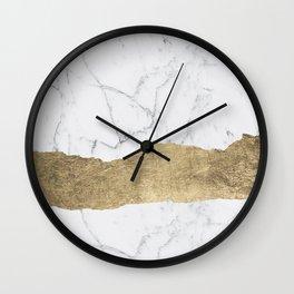 Elegant faux gold foil gray white modern marble Wall Clock