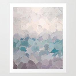 Teal Aqua Purple Lavender Abstract Wall Art Ocean Clouds Painting Print Art Print