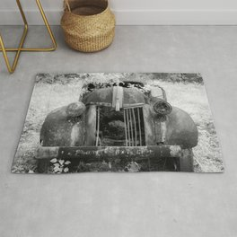 Missing Grill in Abandoned Pickup Rusting in Forest Black and White Infrared Rug