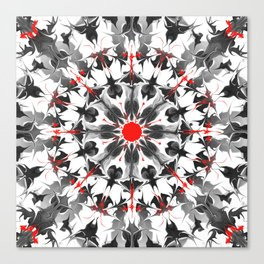 Black red white emo fluid circle Canvas Print